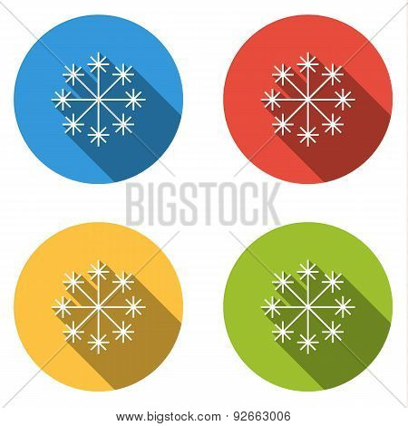 Collection Of 4 Isolated Flat Buttons For Snow