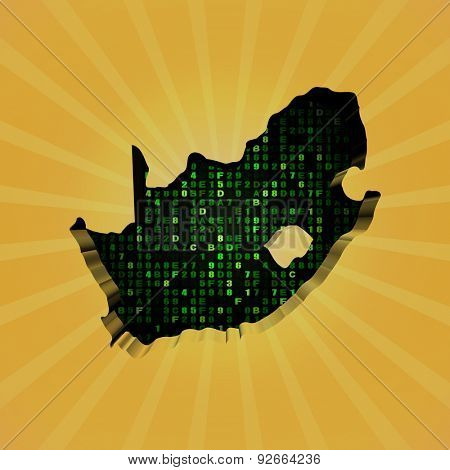 South Africa sunburst map with hex code illustration