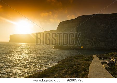 Xlendi Bay  at sunset in Gozo Island, Malta