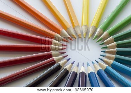 Color circle of pencils with complementary colors