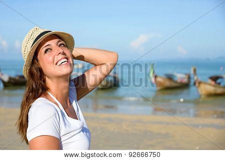 Joyful Woman Enjoying Thailand Travel At Beach