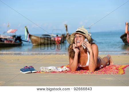 Happy Woman Enjoying Thailand Beach Vacation