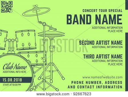 Rock Music Concert Drum Set Horizontal Music Flyer Template.