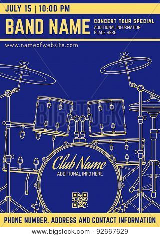 Rock Music Concert Drum Set Vertical Music Flyer Template.