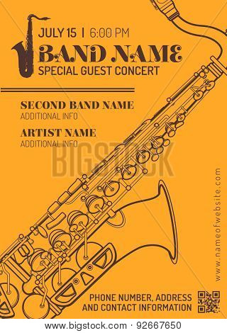 Jazz Music Concert Saxophone Horizontal Music Flyer Template .