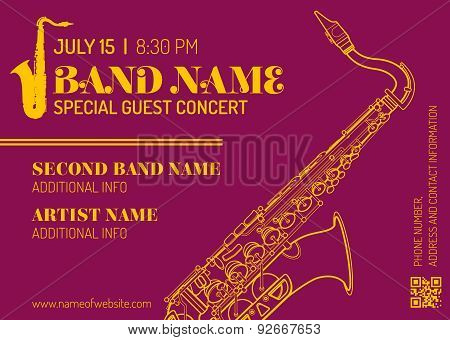 Jazz Music Concert Saxophone Vertical Music Flyer Template .