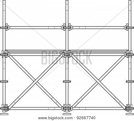 Dark Contour Scaffolding Illustration.