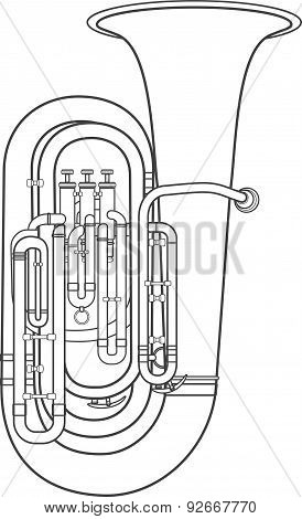 Dark Contour Tuba Music Instrument Vector Illustration.
