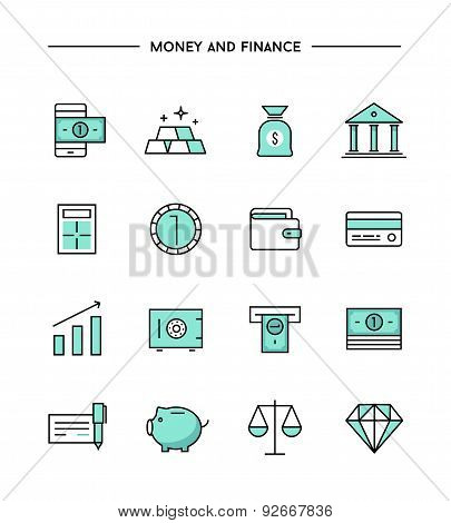 Set Of Thin Line Flat Money And Finance Icons