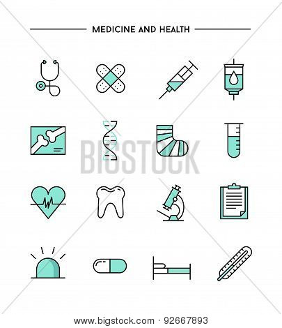 Set Of Flat Design, Thin Line Medicine And Health Icons