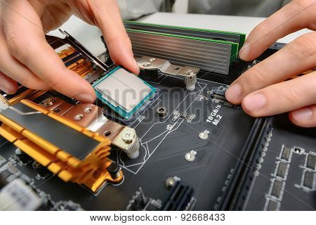 Assembling Computer Parts, Closeup