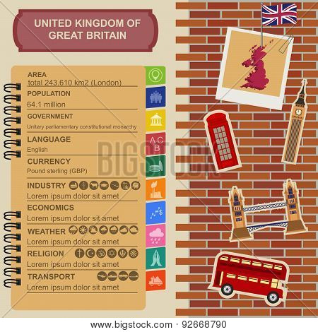 United Kingdom of Great Britain infographics, statistical data, sights.