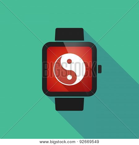 Smart Watch With A Ying Yang Sign