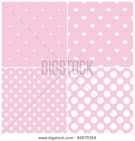 Cute pink tile vector pattern set with white polka dots and hearts on pastel background