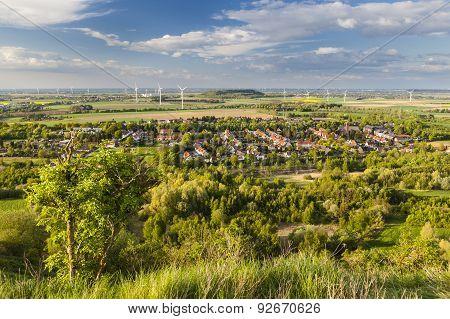 Village And Wind Energy Landscape