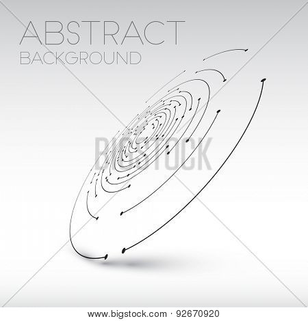 Abstract technical shape - 3D circles with dots and shadow - abstract background