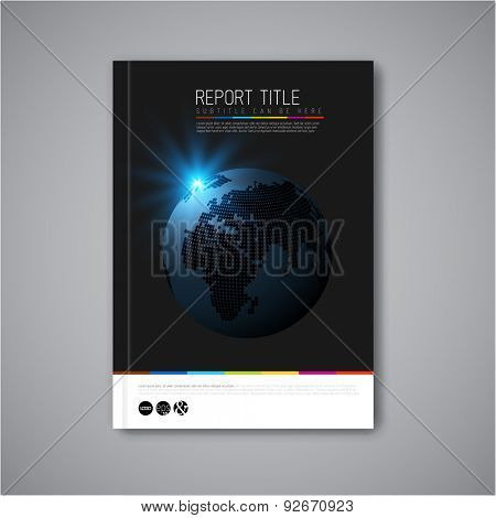 Modern Vector abstract brochure, report or flyer design template with earth globe