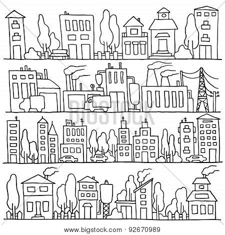 Scketch Big City Architecture