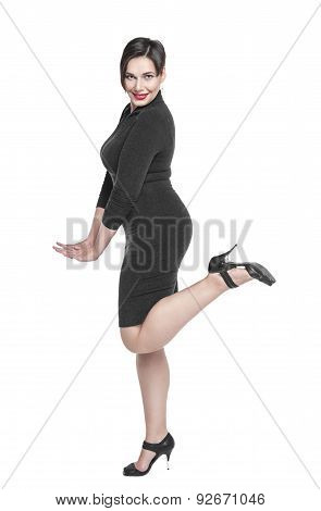 Beautiful Plus Size Woman In Black Dress Posing Isolated