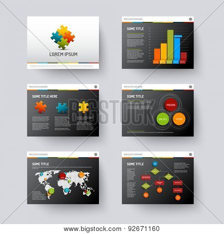 Vector dark Template for presentation slides with graphs and charts