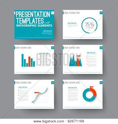 Vector Template for presentation slides with graphs and charts - blue and red version