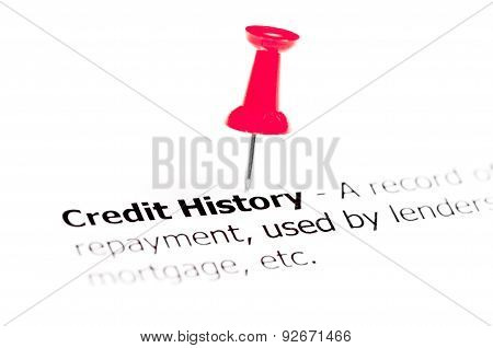 Words Credit History Pinned On White Paper With Red Pushpin