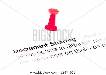 Words Document Sharing Pinned On White Paper With Red Pushpin