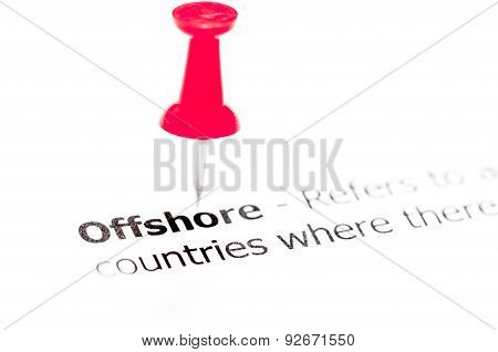 Word Offshore Pinned On White Paper With Red Pushpin