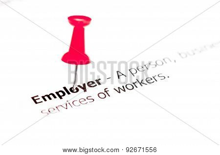 Word Employer  Pinned On White Paper With Red Pushpin