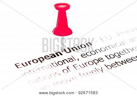 Words European Union Pinned On White Paper With Red Pushpin