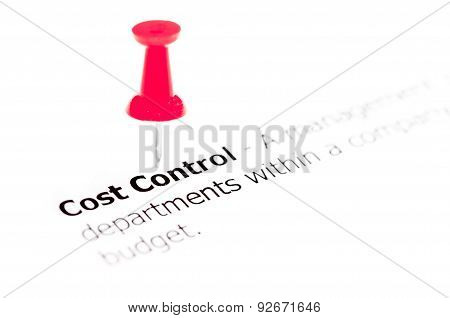 Words Cost Control Pinned On White Paper With Red Pushpin