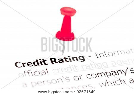 Words Credit Rating Pinned On White Paper With Red Pushpin