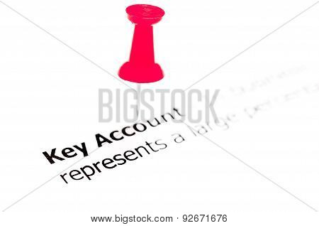 Words Key Account Pinned On White Paper With Red Pushpin