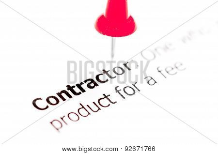 Word Contractor Pinned On White Paper With Red Pushpin
