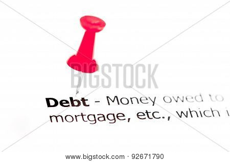 Word Debt Pinned On White Paper With Red Pushpin