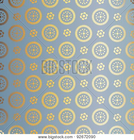 Blue and gold  pattern. Abstract geometric modern background. Texture of gold foil. Art deco style.