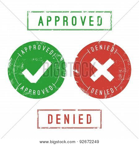 Textured Approved And Denied Stamps