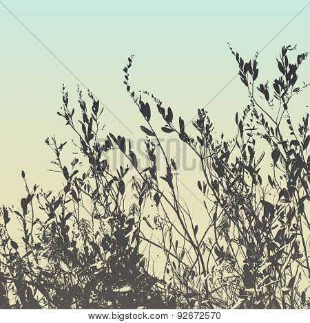 Grass and bush vector silhouette