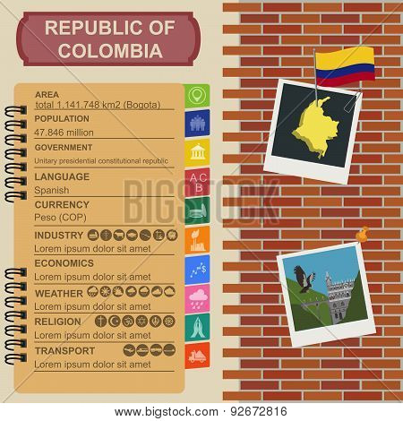 Colombia infographics, statistical data, sights
