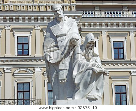 Cyril And Mefodiy Are Founders Of The Slavic Written Language. Monument In Kiev