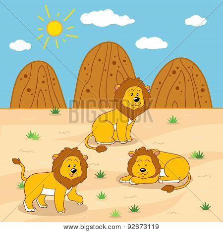 Vector Illustration (sunny Safari Day With Lions)
