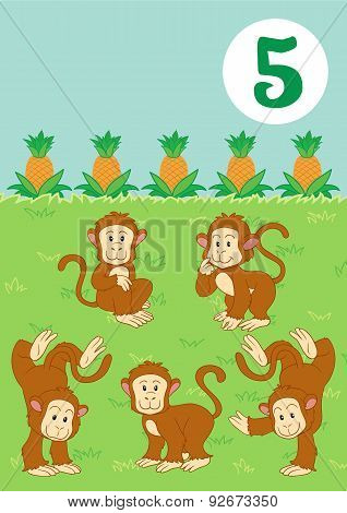 Five Cute Monkeys: Easy Learn To Count