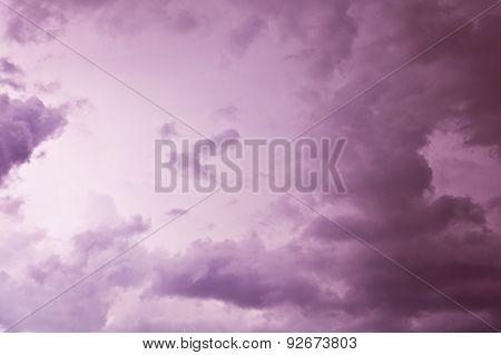 Clouds With Lightning In A Thunderstorm At Night
