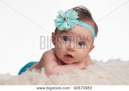 Baby Girl With Turquoise Blue Flower Headband
