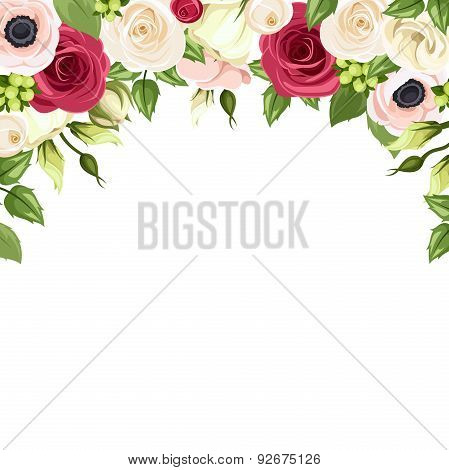 Background with red, pink and white flowers. Vector illustration.