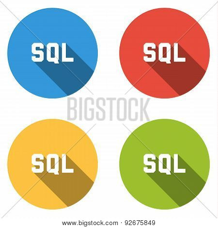 Collection Of 4 Isolated Flat Buttons For Sql Title