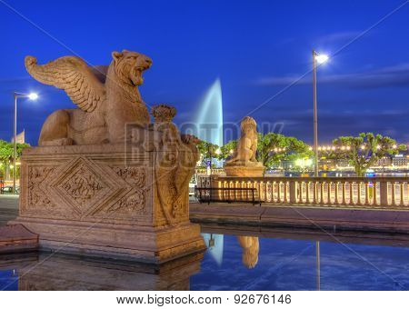 Lion statue near Brunswick monument, Geneva, Switzerland, HDR