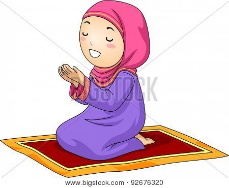 Illustration of a Little Muslim Girl Kneeling on a Carpet While Praying