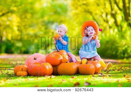 Children At Pumpkin Patch