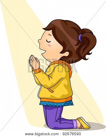 Illustration of a Little Girl Kneeling While Praying